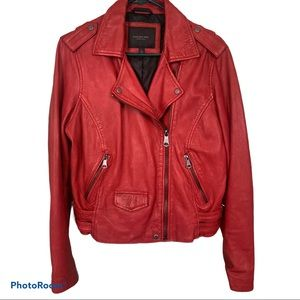 Andrew Marc New York Leather Moto jacket ruby red